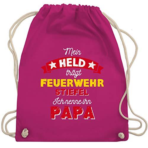Shirtracer Vatertagsgeschenk Tochter & Sohn Kinder - Mein Held trägt Feuerwehrstiefel - Unisize - Fuchsia WM110 - Turnbeutel und Stoffbeutel aus Baumwolle