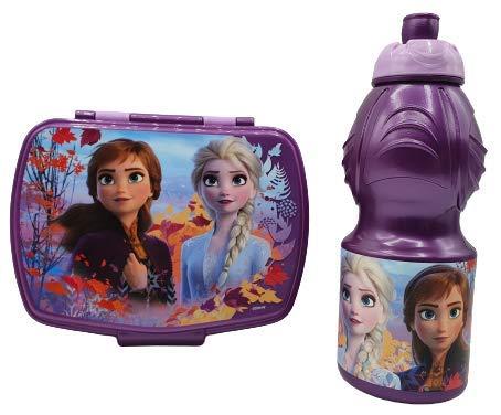 CM Pack 2pcs Botella de Agua plastico Infantil 400ml- Fiambrera sandwicheras para niños, cantimplora a Prueba de Fugas sin BPA (Lila-Fron)