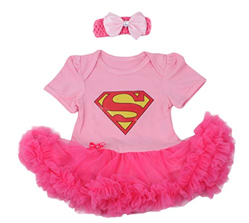 Baby Cotton Summer Toddler Romper Bodysuit with Headband (Lable XL/Age 12-18 Months, Pink/Superman)