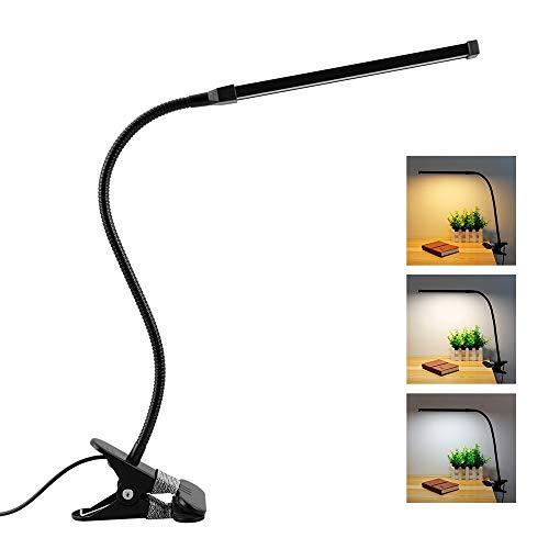 8W USB Klemmleuchte mit Schalter und Kabel, Tattoo Lampe, 3 Farbwechsel & 10 Helligkeit, LED Klemmlampe Flexibel mit Schwanenhals, Leselampe Bett Kinder, Schreibtischlampe Klemmbar, Schwarz