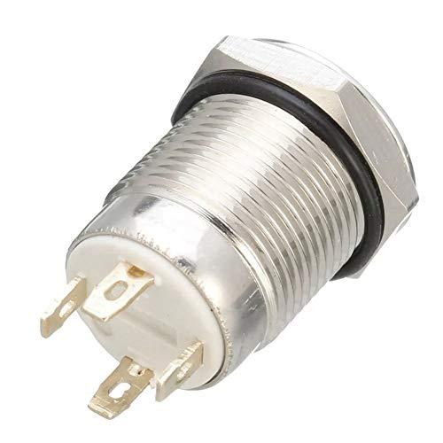 Esenlong Dc 12V 12Mm Interruptor Momentáneo de 4 Pines Led Light Metal Pulsador Impermeable Interruptor Azul