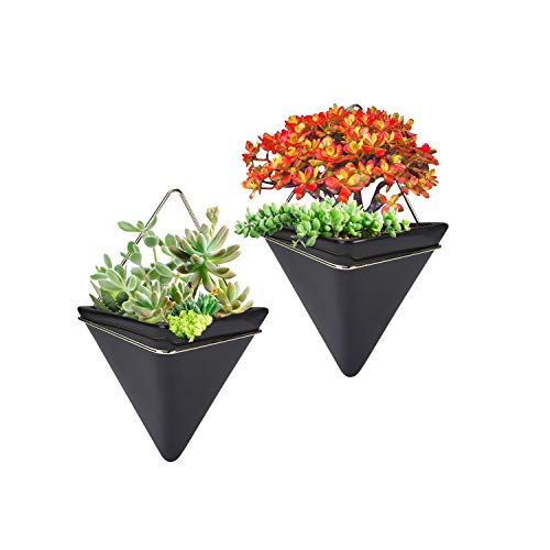 2 Pack Hanging Planter Vase Geometric Wall Decor Ceramic Container Wall Planters Hanging with Metal Frame for Succulent Plants Air Plant Mini Cactus Faux Plants (Large, Black+Gold)