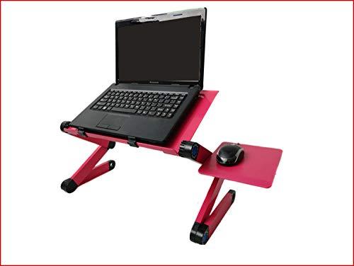 Anwasd7 Mesa de computadora portátil de enfriamiento/Mesa de computadora de Cama/Escritorio/Mesa Plegable de aleación de Aluminio Perezosa con Tablero de Mouse-Doble Ventilador_48cmx26cm Rojo