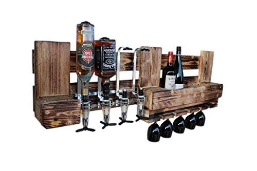 RUSTIKALE WANDBAR mit 4cl DOSIERSPENDER für Cocktails, Longdrinks,Vintage Wandregal Flaschenhalter groß aus Paletten Holz, Geschenk Vatertag Hausbar Landhausstil - 2