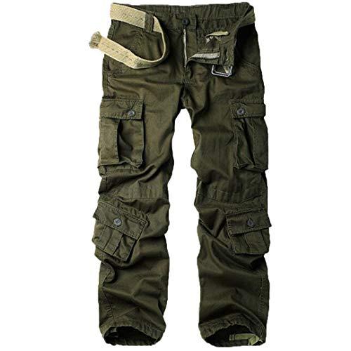 Herren Hose mit weitem Bein Joggerhose Militärische Tarnung Hip Hop Hose Army Green 4XL