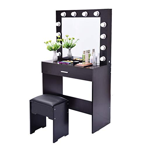 Dressing Table Makeup Table Vanity Set with Lighted Mirror Cushioned Stool