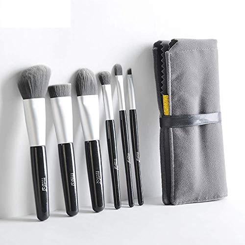6 pinceaux de maquillage de cheveux de fibre réglés débutant professionnel ensemble complet d'outils de maquillage pinceau de poudre de fard à paupières d'ombre d'oeil (noir)