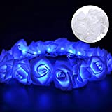 50 LED Valentines Day Rose Flower String Lights, 16.4 ft Blue Rose Blue String Lights, Valentine's String Romantic Flower Lights for Valentine's Day, Wedding, Birthday Indoor Outdoor Decorations