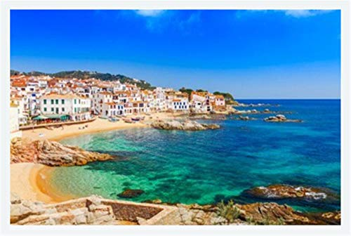 Puzzle Jigsaw Rompecabezas De 500 Piezas Scenic Fisherman Village with Nice Sand Beach and Clear Blue Water In Nice Bay Decoración del Hogar para Niño Adulto 500 Piezas