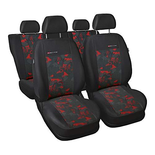 Saferide | Universal Rot Sitzbezüge Komplettset Sitzbezug für Auto Sitzschoner Set Schonbezüge Autositz Autositzbezüge Sitzauflagen Sitzschutz Elegance
