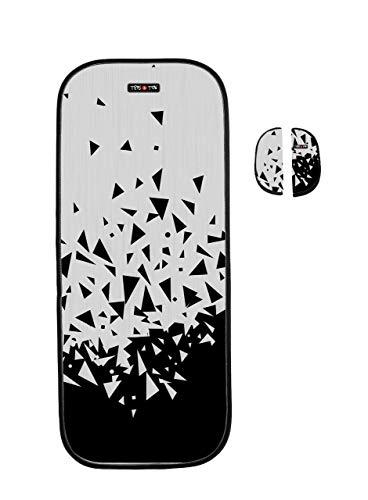 Tris&Ton colchoneta silla de paseo ligera universal para carrito cochecito bebe transpirable de microfibra + protección de arneses (Trisyton) (Geometric)