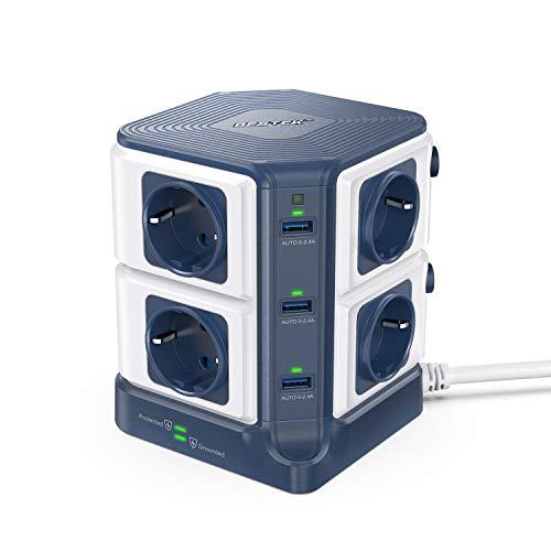 BESTEK Regleta Enchufe Vertical de 8 Tomas y 6 Puertos USB, Regleta con Protección contra Sobretensiones y Interruptor, Torre Ladron Alargador(1500J Surge Protección, 3600W/16A, Cable de 3 m)-Azul
