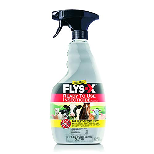 Absorbine Flys-X Ready to Use Water-Based Insecticide for Livestock, Horses, Dogs, Kills & Repels Flies, Mosquitoes, Gnats, Lice, 32oz Quart Sprayer