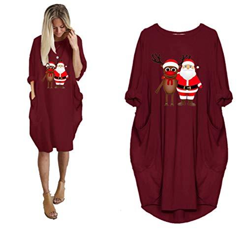 HAPPKING Weihnachtskleid Damen Große Größen Pailletten Glitzer 3D Optiken Weihnachten Jumperkleid mit Rentier Gedruckt Goldene Weihnachten Sweatkleider Damen Ausgestellte Minikleid Christmas