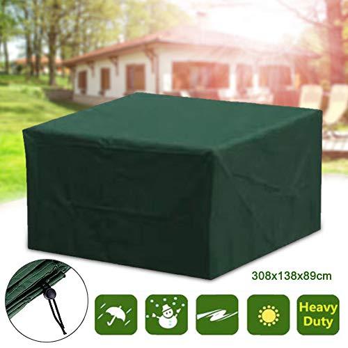 Pannow Funda para muebles de patio, impermeable, para exteriores, jardín, resistente al polvo, a los rayos UV, rectangular, para sofás y sillas