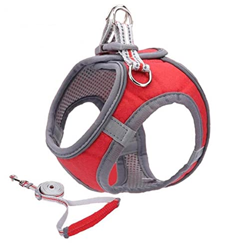 Oxatscr Pet Reflective Soft Mesh Dog Harness and Leash Set No Pull Breathable Padded Step in Vest Harness Leash Set Comfort Training Walking for Small Dogs Cats Puppies (S, Red)