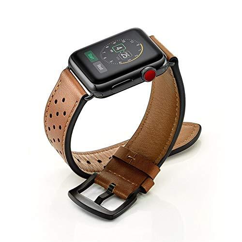 Hspcam Correa de cuero para Apple Watch Band 44mm 40mm iWatch banda 42mm 38mm primera capa cuero vaca pulsera Apple Watch serie 3 4 5 se 6 (42mm o 44mm, marrón)