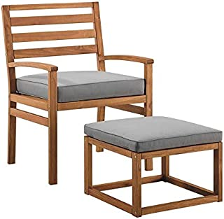 Walker Edison Furniture Company Acacia Wood Outdoor Patio Chair & Pull Out Ottoman - Brown
