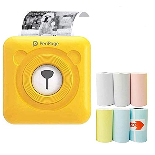 Portable Small Photo Printer for iPhone - Mini Printer Label Memo Receipt Instant Sticker Printer for All Smartphone - Thermal Bluetooth Label Printer with 6 Printing Papers(Yellow)