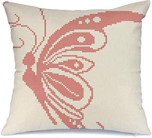 Decoración Throw Pillow Cover Funda de cojín Hermosa silueta de mariposa Color rosa Dibujado por animales Vida silvestre Belleza abstracta Mariposas Funda de Cojine 45 X 45CM