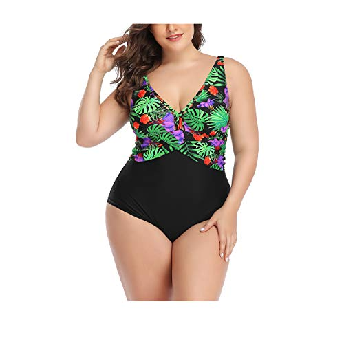 Women Plus Size Swimsuits One Piece Swimwear Floral Halter Ruched Tummy Control Swim (Black, L)