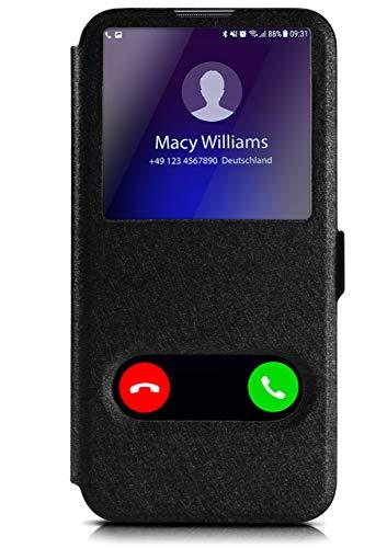 MoEx Huawei P Smart (2019) | Hülle mit Sicht-Fenster Schwarz Comfort Cover Stand-Funktion Schutzhülle Ultra-Slim Handyhülle für Huawei Nova Lite 3 Hülle Flip Handy-Tasche