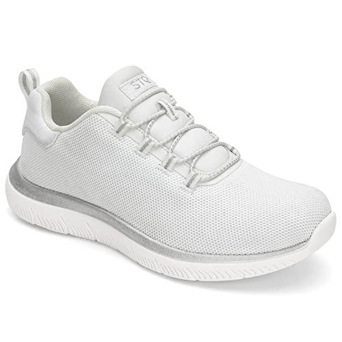 HKR Damskie buty Slip On Sneaker Memory Foam wygodne buty sportowe, biały, 40 EU