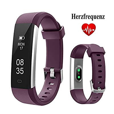 Fitness Tracker, TOOBUR Waterproof Activity Tracker with Heart Rate Pedometer Calories and Sleep Monitor, Slim Step Counter Wristband Smart Watch for Women Men Kids by ZHIXIN