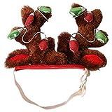 Mucjun Hund Elch Rentier Geweih Hut Muetze Hund Katze Haustier Weihnachten Outfits Kleiner Hund Kopfbedeckung Haarpflege Accessoires S