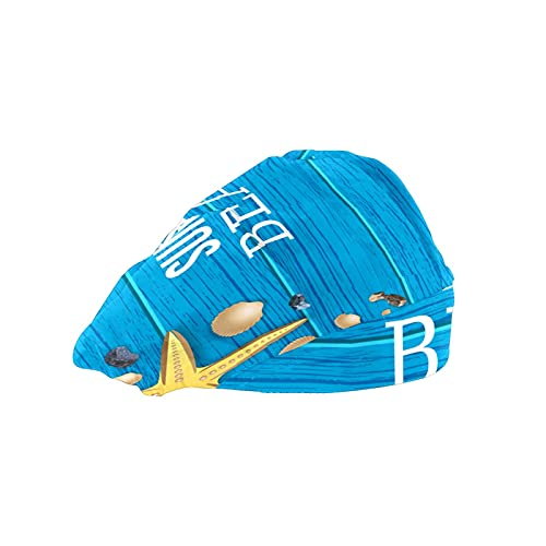 Gorra de mujer para cabello largo con banda para el sudor, gorras elásticas ajustables de trabajo para hombres bufanda de cabeza de trabajo impreso 3D sombreros de verano tropical playa madera