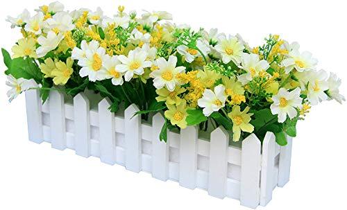 Flikool Margarita Flores Artificiales con Valla Faux Crisantemo Plantas Artificiales con Cerca Macetas Falso Potted Bonsai Flor Artificial Hogar Adornos de Decoración 30 * 7.5 * 17 cm - Verde