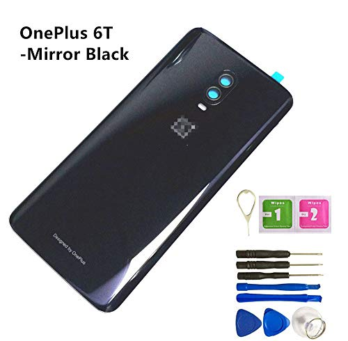 Real Back Cover Glass Replacement Housing W/Camera Frame Glass Lens/Flash Assembly for OnePlus 6T A6010 A6013 6.41' + Eject Pin Tools (6T/Mirror Black)