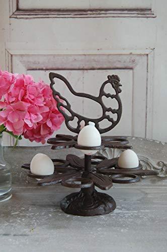 windschief-living Landhaus Eieretagere, Eierständer aus Gusseisen im Antique Shabby chic