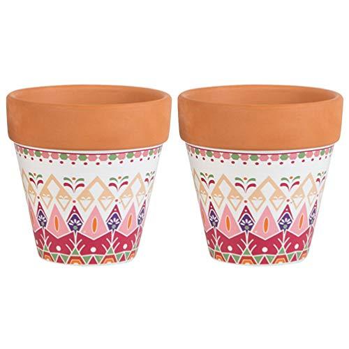 DOITOOL 2 piccoli vasi per piante da interni, in terracotta, vasi per piante grasse in terracotta, cactus bonsai, decorazione per casa, ufficio, scrivania, finestra, giardinaggio (diametro 9 cm)