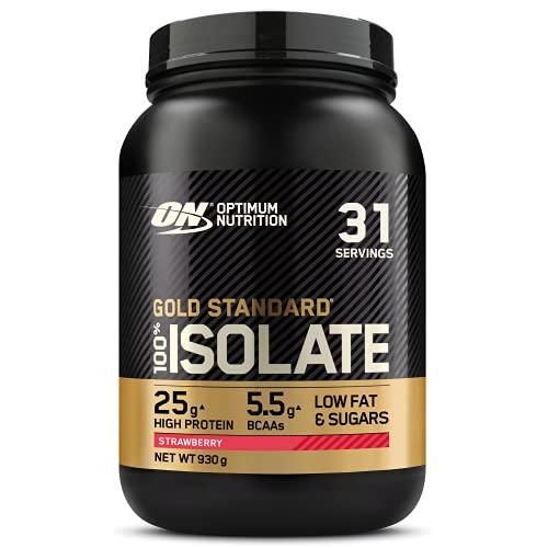 Optimum Nutrition 100% Gold Standard Isolate, Proteina Whey Isolate en Polvo para Aumentar Masa Muscular, Proteina Isolada, Fragola, 31 Porciones, 930g
