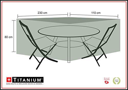 Chalet-Jardin Housse Table Ovale + CHAISES Protection INDECHIRABLE Titanium CHAISES-90G/M² -NOIR-230x110x80cm, Noir