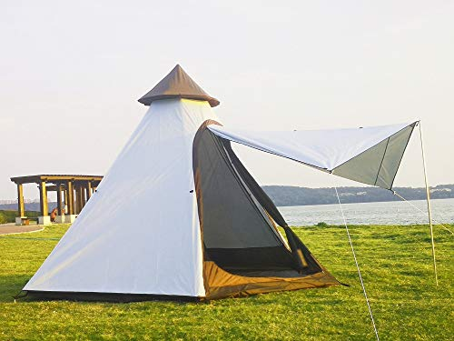 Latourreg Portable Camping Pagoda Teepee Tent Outdoor Camping Pyramid Tipi Tent with Large Space (White)