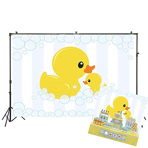 7x5ft Photography Background Cute Little Yellow Duck Theme Baby Shower Bubble Backdrop Ducky Party Event Decorations Banner Pictures Photo Booth Props W-1985