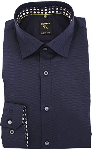 OLYMP No. Six super Slim Hemd extra Langer Arm Struktur Nachtblau Größe 42
