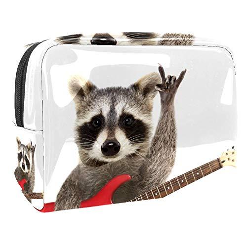 TIZORAX - Bolsa de maquillaje de PVC con diseño de mapache mecedora con guitarra