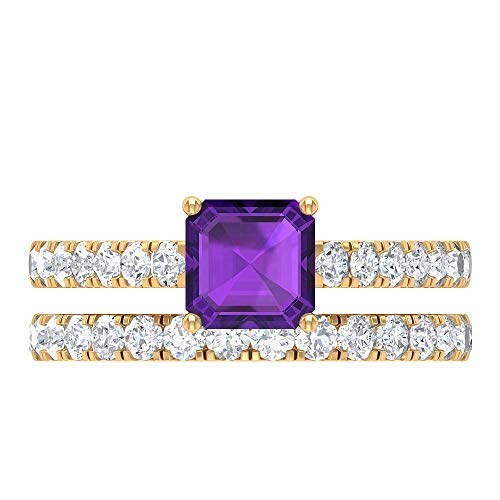 6 MM Asscher Cut Amethyst Solitaire Ring, D-VSSI Moissanite Eternity Band, Solitaire Ring With Side Stones, Gold Bridal Ring Set (AAA Quality), 18K Yellow Gold, Size:UK K