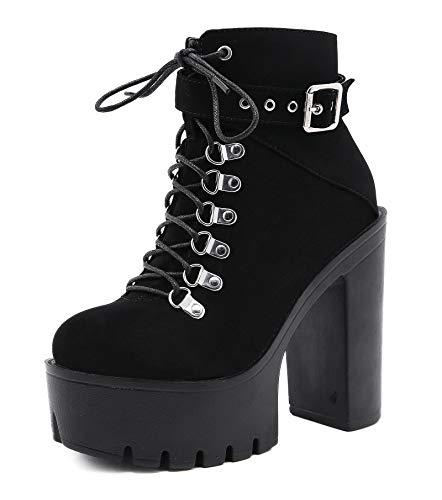 Botines De Tacón Alto Plataforma para Mujer, Botas De Combate Góticas Punk con Cordones Tacón Ancho 13Cm
