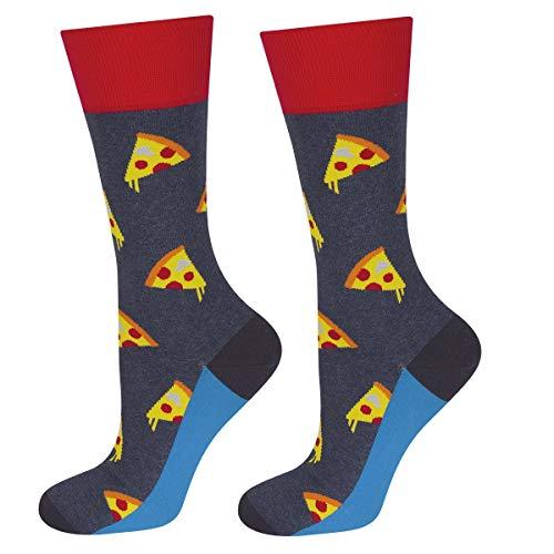soxo Herren Bunte Pizza Socken | Größe 40 – 45 | aus Baumwolle | Lustige Geschenk für Frauen & Männer