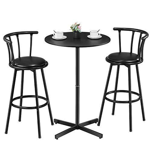 Kealive Bar Table Set 3 Piece Wood Round Table with 2 Stools, X-Shaped Base 39'' Height Table and Swivel Barstools PU Leather Ergonomic Backrest for Home, Kitchen