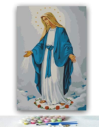 Yqgdss DIY Virgen María Jesús, Madre, Imagen para Colorear Decoración Pintura Al Óleo por Números Dibujo Pintado A Mano Arte De Pared Digital Kits Únicos Lona De Regalo, Marco De Madera