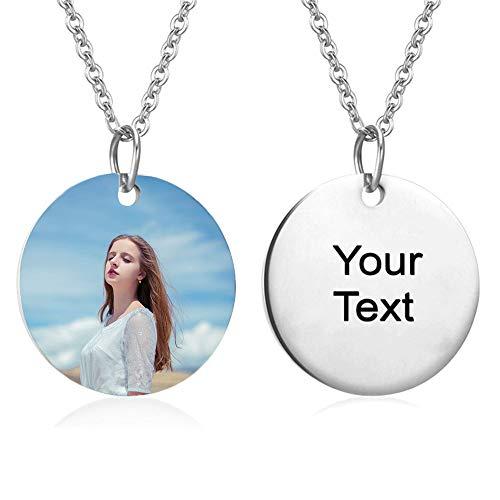 e'w'r'w'erwerwe Collar Personalizado Mujer/Hombre Texto Grabado Y Foto Collar Mujer/Hombre Cumpleaños Personalizado Regalo Genial