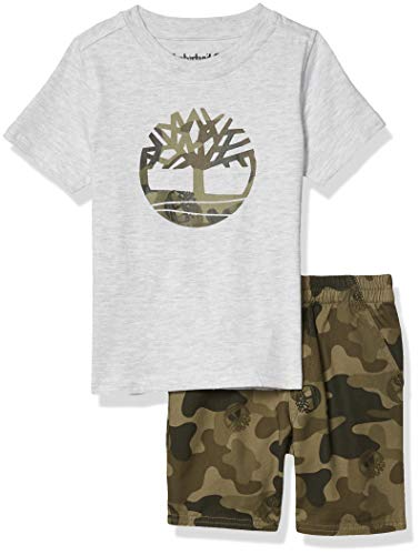 Timberland Boys' 2 Pieces Shorts Set, White/Camo, 3T