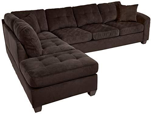 "Homelegance Emilio 110"" x 78"" Fabric Sectional Sofa, Chocolate"