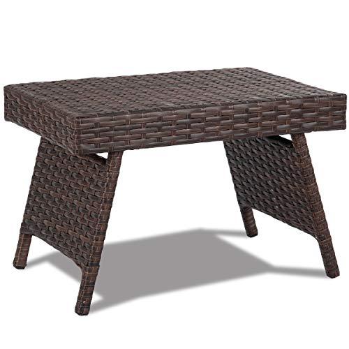 GIANTEX Kaffeetisch Rattan, Rattan Tisch klappbar, Gartentisch mit Eisengestell, Beistelltisch 60 x 40 x 39 cm, Ablagetisch für Garten, Balkon, Terrasse