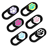 Mobestech 6pcs Plastic Webcam Cover Slide Cute Cat Paw Pattern Web Camera Cover Privacy Camera Slider for Laptops Phones Tablets, Protect Your Privacy